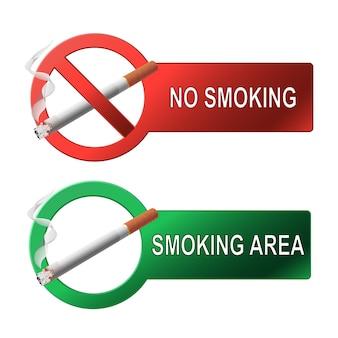 O sinal não fumar e área específica para fumar