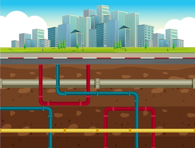 O sistema de tubulação de água subterrânea