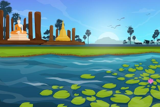 O sítio arqueológico de budistas na tailândia perto de grande lagoa de lótus, pássaros no céu. ilustração do estilo cartoon cena da natureza Vetor grátis