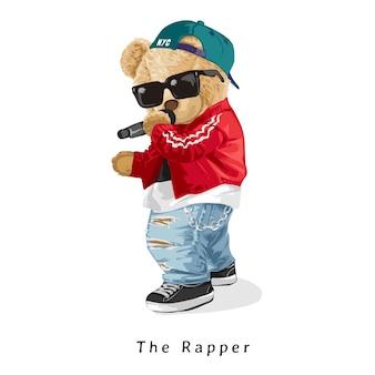 O slogan do rapper com boneca de urso estilo rapper