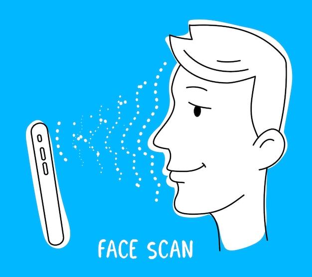 O smartphone verifica o rosto para desbloquear a tela em fundo azul