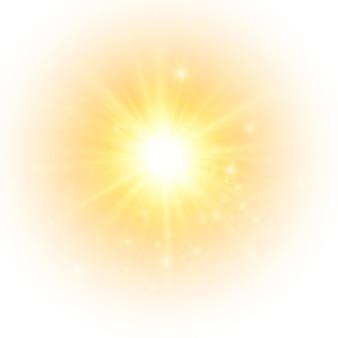 O sol amarelo um flash um brilho suave sem a partida dos raios estrela brilhou com brilhos