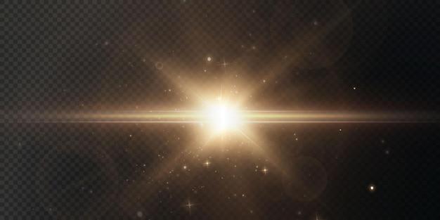 O sol está brilhando em raios de luz brilhantes com brilho realista de estrela dourada de luz de natal.