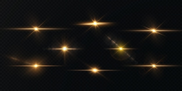 O sol está brilhando em raios de luz brilhantes com reflexos realistas estrela de luz dourada natal
