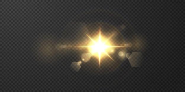 O sol está brilhando raios de luz brilhantes com brilho realista. estrela de luz sobre um fundo preto transparente.
