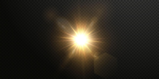 O sol está brilhando raios de luz brilhantes com brilho realista