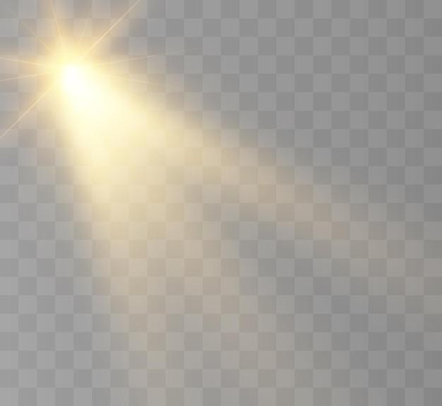 O sol forte brilha com ilustração de raios quentes