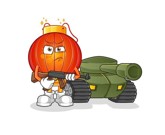 O soldado lanterna chinesa com mascote dos desenhos animados do tanque. mascote mascote dos desenhos animados
