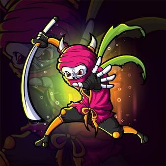 O sombrio com a espada atração esport mascote design de ilustração