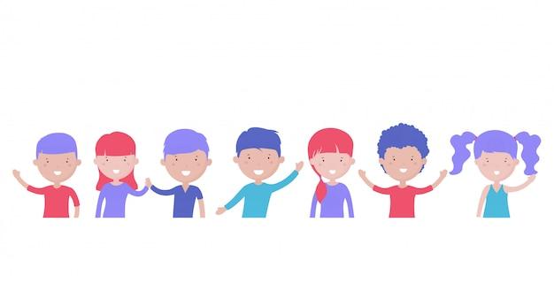 O sorriso feliz caçoa meninos e meninas isolados no fundo branco. personagens de desenhos animados.