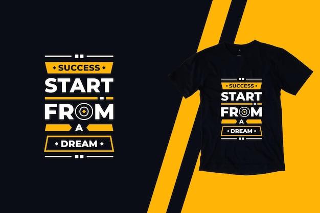 O sucesso começa a partir de um design de camiseta de citações geométricas modernas de sonho