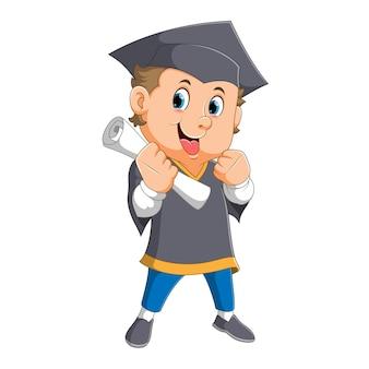 O sucesso do homem está usando o bacharelado e segurando o certificado de ilustração