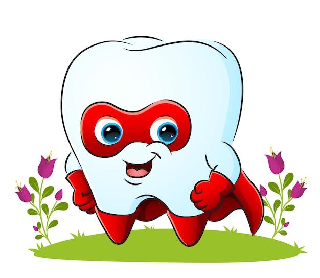 O super-herói do dente está vestindo o almíscar e o manto da ilustração