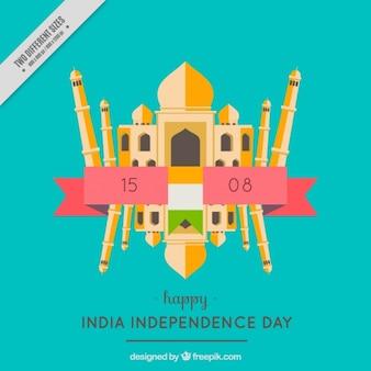 O taj mahal em um fundo agradável para o dia da independência da índia