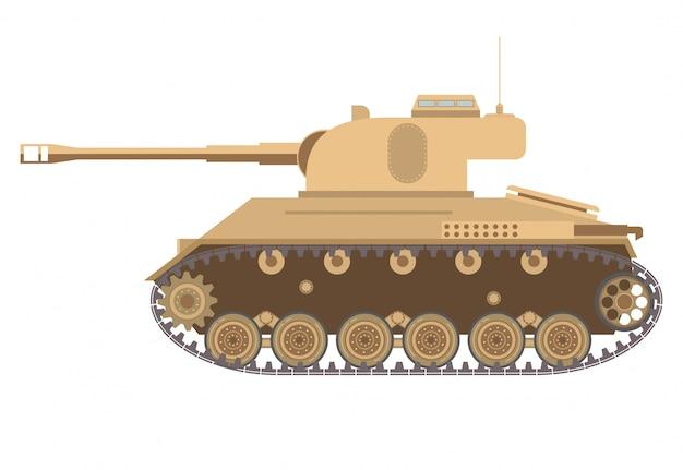 O tanque médio americano da segunda guerra mundial e uma torre com a arma e uma metralhadora.