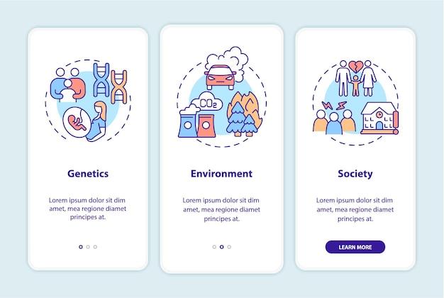 O tdah causa a tela da página do aplicativo móvel de integração. genética e meio ambiente com instruções gráficas de 3 etapas e conceitos. modelo de vetor ui, ux e gui com ilustrações coloridas lineares