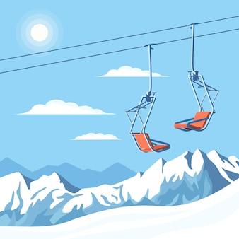 O teleférico de cadeira para esquiadores e snowboarders se move no ar em uma corda