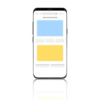 O telefone é mostrado com um navegador na tela.