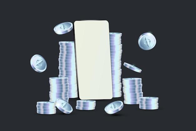 O telefone está cercado por pilhas de moedas ethereums