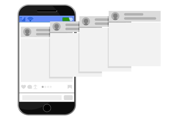 O telefone móvel coloca a postagem na internet em um fundo branco.