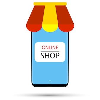 O telefone preto na forma de uma loja on-line é retratado em um fundo branco.