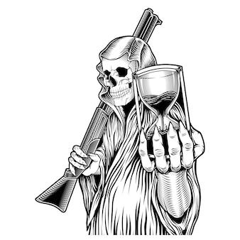 O tempo, ceifador que segura ampulheta e desenho de mão de arma