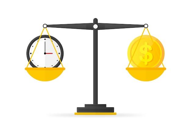 O tempo é o saldo do dinheiro no ícone de escalas. ilustração vetorial.