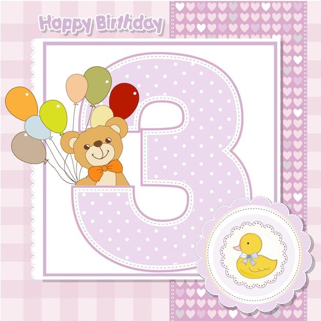 O terceiro aniversário do cartão de aniversário