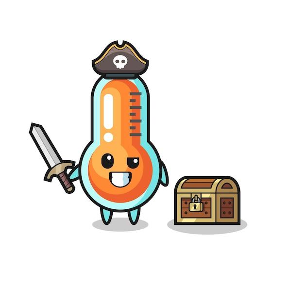 O termômetro pirata segurando uma espada ao lado de uma caixa de tesouro, design de estilo fofo para camiseta, adesivo, elemento de logotipo