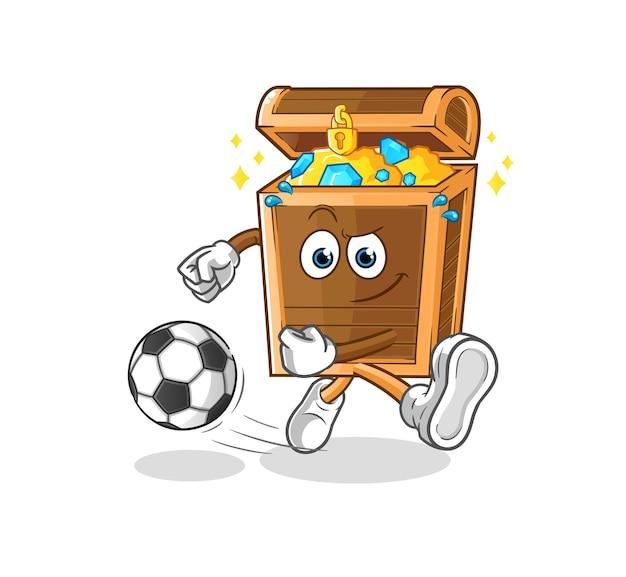 O tesouro chutando o desenho animado da bola. mascote dos desenhos animados