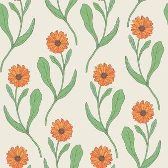 O teste padrão sem emenda colorido com calêndula alaranjada floresce a mão desenhada no estilo retro. bela flor medicinal e erva culinária. ilustração natural para impressão têxtil, papel de embrulho.