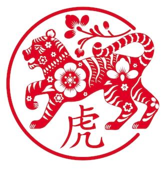 O tigre é um símbolo da ilustração vetorial do feriado do ano novo chinês de 2022 do zodíaco vermelho decorativo