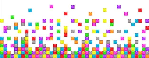 O tijolo do mosaico bloqueia a fronteira sem emenda. padrão de pixel com elementos quadrados