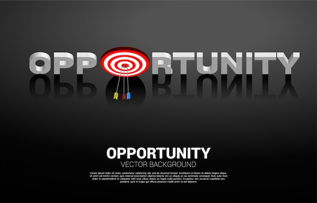 O tiro com arco de flecha atingiu o centro do alvo em palavras de oportunidade. conceito de negócio de alvo e cliente de marketing. missão de visão da empresa.