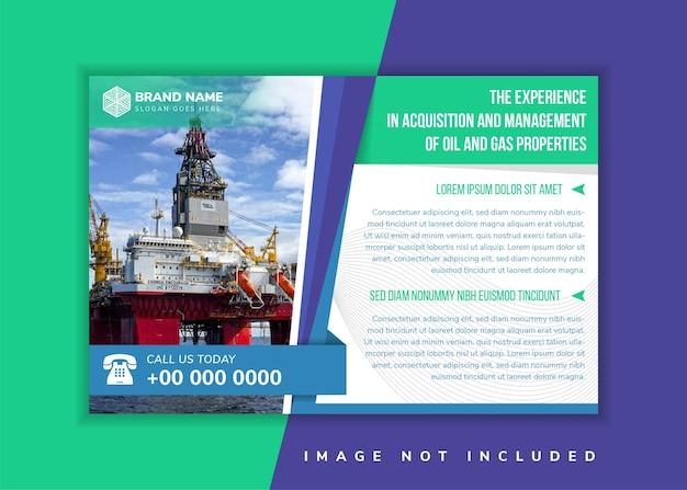 O título de propriedades de petróleo e gás do modelo de design de panfleto usa layout horizontal plano de fundo branco