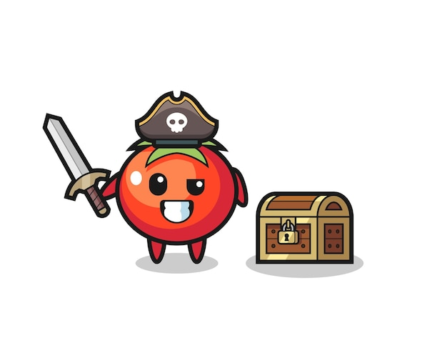 O tomate pirata personagem segurando uma espada ao lado de uma caixa de tesouro, design de estilo fofo para camiseta, adesivo, elemento de logotipo