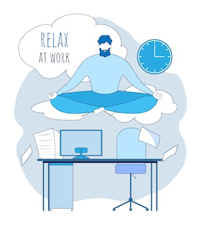 O trabalhador de escritório dos desenhos animados medita acima da ilustração do local de trabalho. relaxe no trabalho