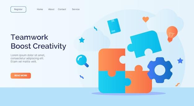 O trabalho em equipe aumenta a criatividade instala a campanha de ícone de elemento de quebra-cabeça para o modelo de pouso de página inicial do site web com estilo cartoon