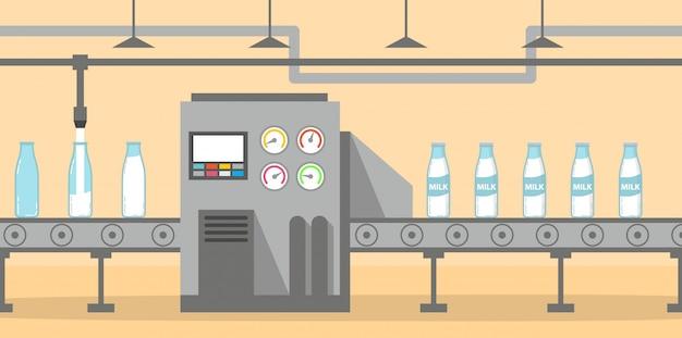 O transportador da fábrica de leite derrama e embala garrafas de vidro de leite.