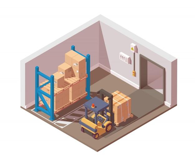 O transporte de mercadorias é realizado com uma empilhadeira do armazém.