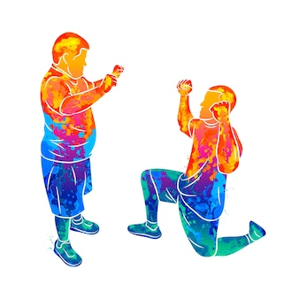 O treinador abstrato ajuda um menino com síndrome de down devido a respingos de aquarelas. necessidades especiais. ilustração de tintas