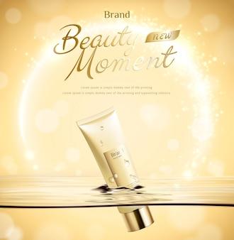 O tubo do momento da beleza flutua na água em um fundo dourado brilhante na ilustração 3d