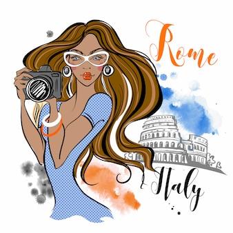 O turista da menina viaja a roma em itália. fotógrafo. viagem.