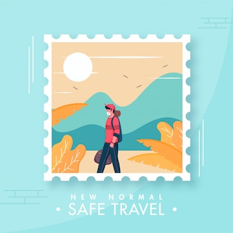 O turista jovem usa máscara protetora com vista para a natureza do sol no quadro polaroid para o novo conceito de viagem normal segura.