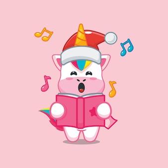 O unicórnio fofo canta uma canção de natal ilustração fofa dos desenhos animados de natal