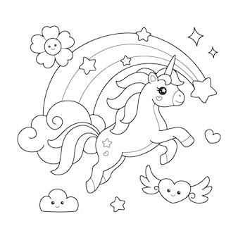 O unicórnio fofo pulando sobre o arco-íris desenhando a página para colorir