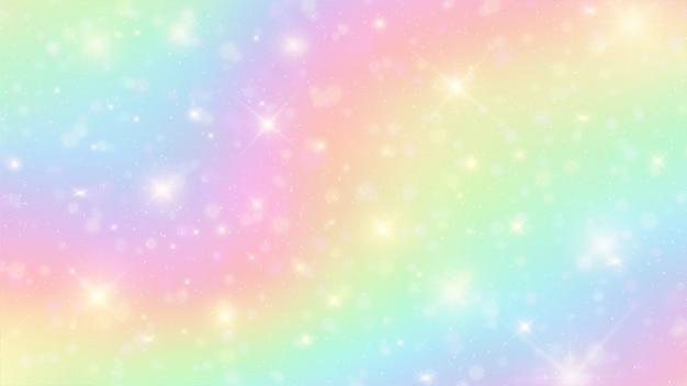 O unicórnio no céu pastel com fundo do arco-íris