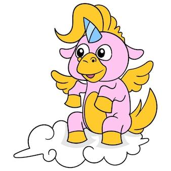 O unicórnio rosa senta-se em uma nuvem branca no céu, arte de ilustração vetorial. imagem de ícone do doodle kawaii.