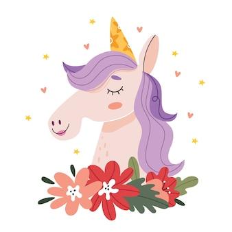 O unicórnio sorri em torno das estrelas e dos corações. ilustração para um livro infantil. poster bonito. ilustração simples.