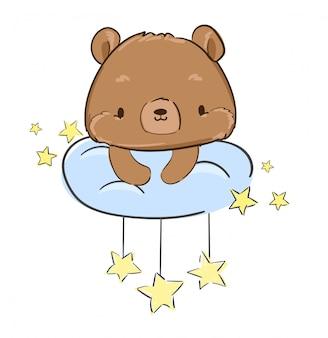 O ursinho de pelúcia bonito está sentado sobre uma nuvem e estrelas. ilustração. .